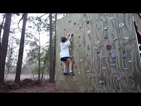 5 year Old Double Dyno on a backyard climbing wall