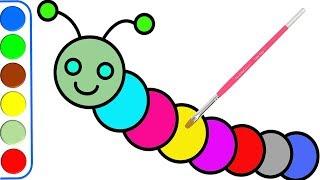 Dibujo de Caterpillar para niños l Páginas para colorear para niños y colores de aprendizaje