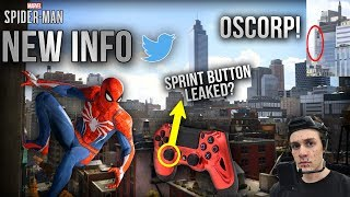 NEW INFO On Spider-Man PS4 GAMEPLAY!   Sprint Button! Oscorp Tower Spotted! NO Fall Damage & MORE!