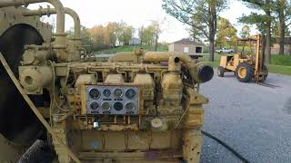 Caterpillar 3508 Big 35 Liter V8 Diesel Engines - Running One With No Muffler