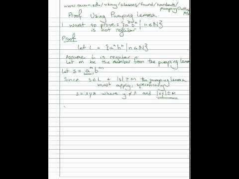 Pumping lemma example: a^n b^n is not a regular language