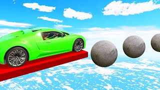 JUMP Across The Floating BALLS To WIN! (GTA 5 Funny Moments)