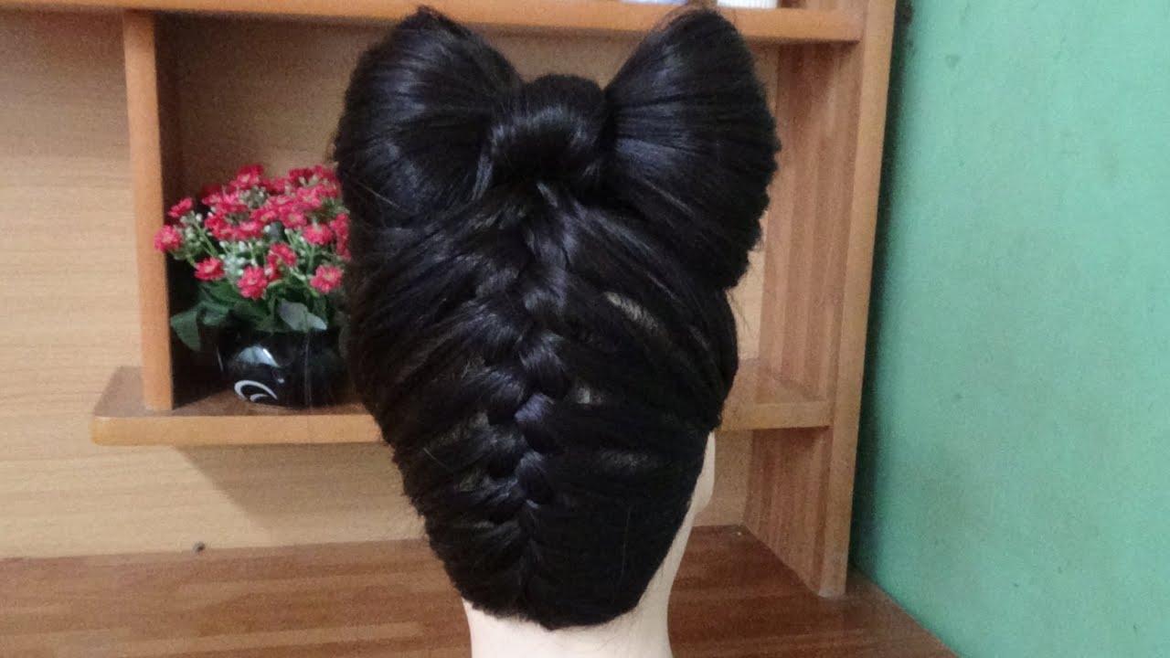 Hair Bow Tutorial Upside Down Braid Bun French Style