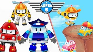 Baby car stuck on Top of the Hill Rescue by Super5 Squad Rescue Team | Kids Cartoon Rhyme
