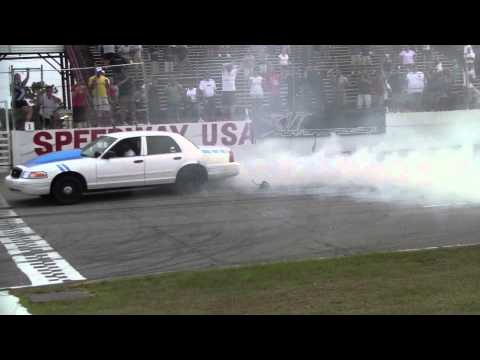 Mustang Week 2011 Burnout contest - Crown Vic blows out the tires