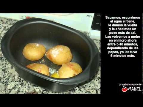 Papas asadas en el microondas - La web de cocina de Mabel