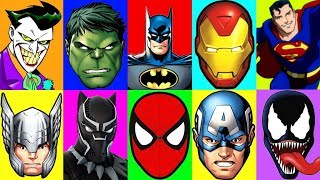 Superhero SLIME Game Learn Colors with Marvel and Justice League Superheroes Play Doh Surprise Cups