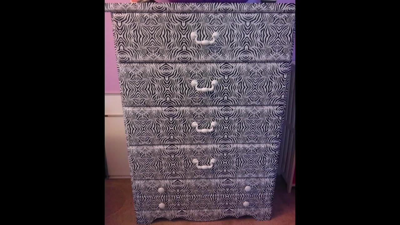 Diy Zebra Print On Laminate Wood Dresser No Painting