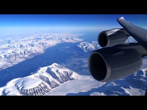 Lufthansa Boeing 747-8 - spectacular flight over Greenland en route to Los Angeles