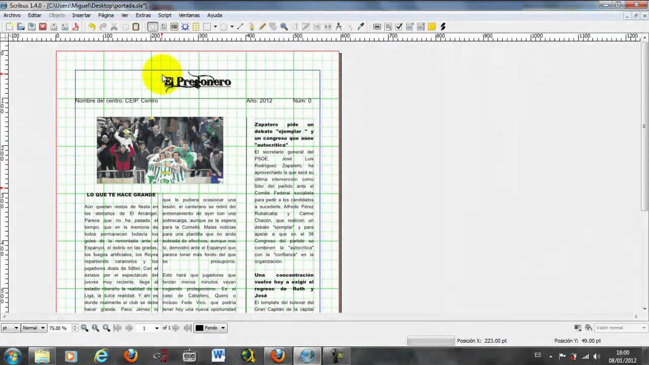Tarea 3 como realizar una portada de periodico escolar con for Como organizar un periodico mural