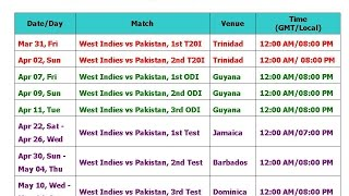Pakistan Vs West Indies 2017 Schedule & Time Table