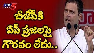 బీజేపీపై దుమ్మెత్తిపోసిన రాహుల్ | Rahul Gandhi Aggressive Speech @ Kurnool Bahiranga Sabha | TV5