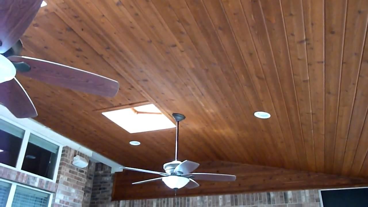 Austin cedar screen porch ceiling - YouTube
