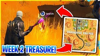 WEEK 2 CHALLENGE TREASURE 'Search Between an Oasis, Rock Archway, And Dinosaurs' Fortnite