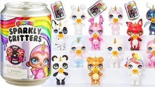 Poopsie Sparkly Critters Blind Bags Opening by Baby LOL Surprise Dolls   Soda Cans Video