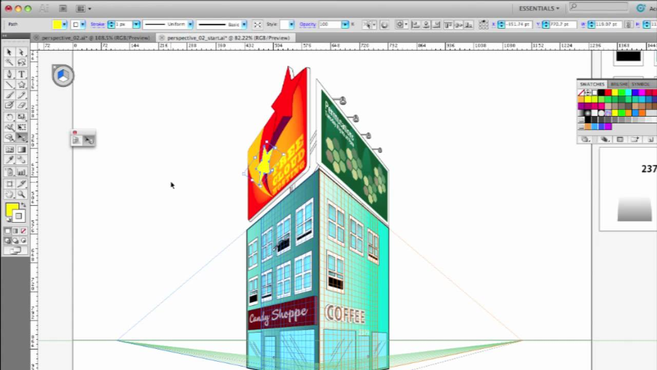 Adobe Illustrator Cs5 Perspective Drawing Youtube