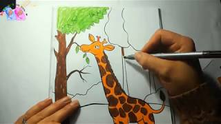 How to draw Animal Giraffe  Coloring Pages Children Learn to Learn Songs  Art Colors for Kids