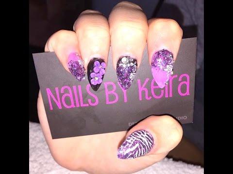 purple stiletto acrylic nails