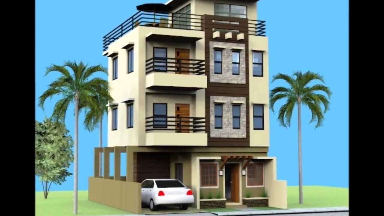 Small 3 storey house with roofdeck youtube for Three storey house designs in the philippines
