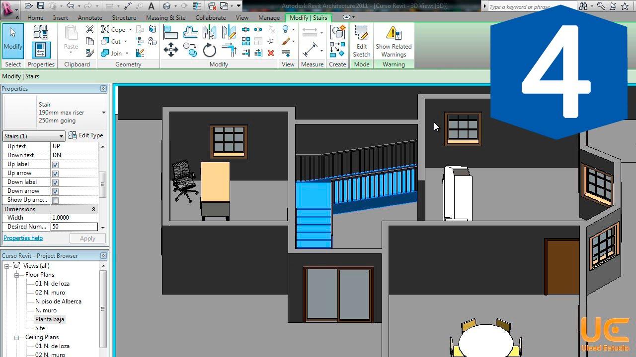 Revit sesi n 4 muebles y objetos youtube for Modelar habitacion 3d max