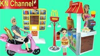 KN Channel Đồ chơi nhà bếp TIỆM THỨC ĂN NHANH McDonald CỦA BÚP BÊ BARBIE