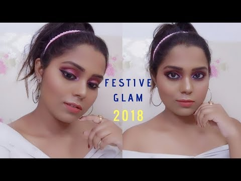 My Signature Glam makeup look for Upcoming Indian Festivals 2018/DEBADRITA/Kolkata