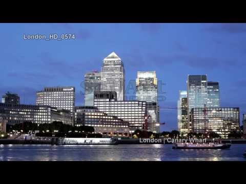 UHD Ultra HD 4K Video Stock Footage London Canary Wharf Skyline Financial District Day Night UK