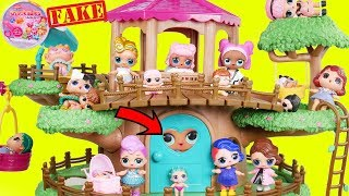 Fake LOL Surprise Dolls Tree House + LQL Lil Sisters!