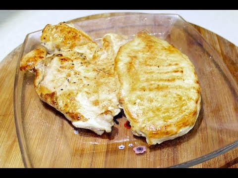 Куриный стейк на сковородке гриль  БЕЗ МАСЛА