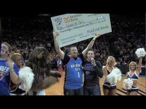 OKC Thunder fan swishes a 20k HALF-COURT SHOT!