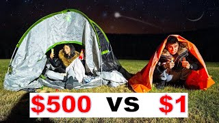 $1 VS $500 OVERNIGHT SURVIVAL CHALLENGE!