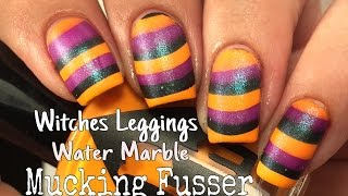 Witches Leggings Water Marble Nail Art Tutorial