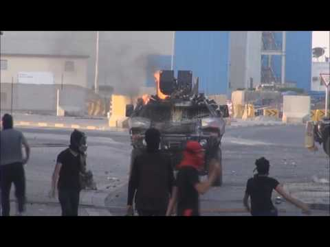 Bahrain : Paints Block The Vision From Riot Police Armoured Vehicle