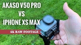 Akaso V50 Pro vs iPhone XS Max (4K Raw Footage Comparison)