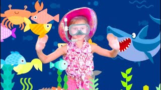 Baby Shark song cartoon collection underwater run away from Baby Shark play