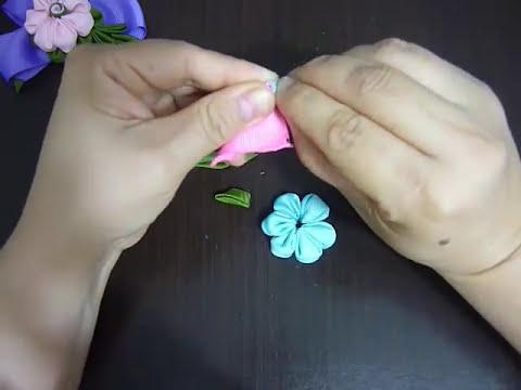 Flores kanzashi pequeñas para decorar moños de niñas. hair accessories. video No.096