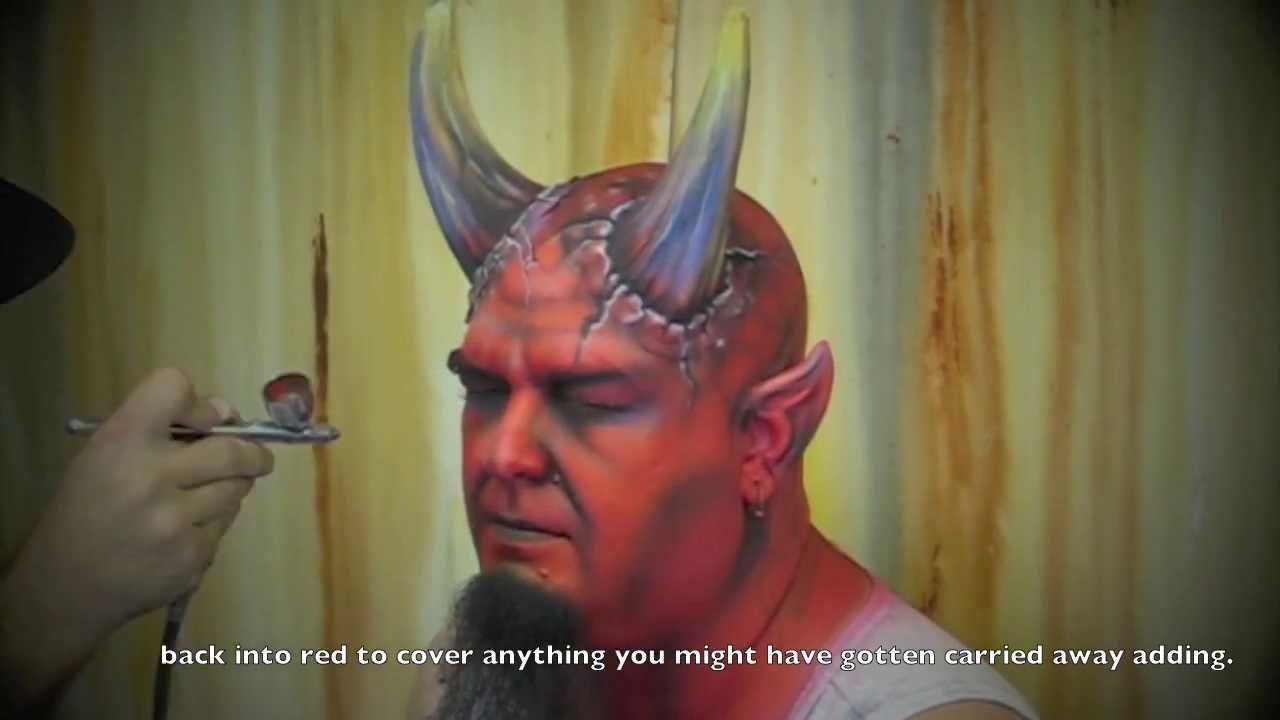 how to airbrush devil make up face painting music by