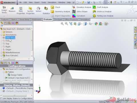 Comsolidworks Design Table : ... Standard Material to you part from Solidworks Design Table - YouTube