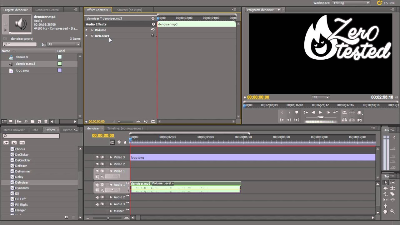 premiere how to cut audio