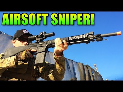 Airsoft Sniper - G&G SR-25 DMR Review: Sniping ALL teh Newbs! (GR-25)