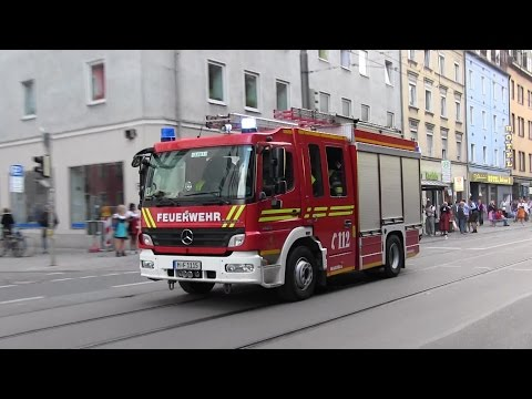 RTW AAU + HLF FW 3 [+ Löschzug FW 1]  BF München zu BMA Hauptbahnhof