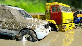 RC Cars MUD and Splashes — KAMAZ, Ford Bronco Axial SCX10, Toyota Land Cruiser Axial SCX10