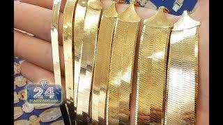 Real Gold Herringbone Chain Necklaces for Women & Men - 24diamonds.com