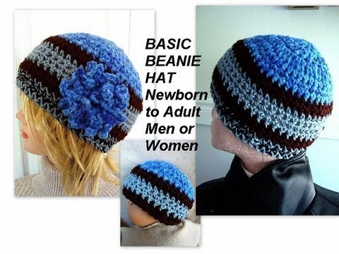 How To Crochet Basic Unisex Beanie Hat Newborn To Adult
