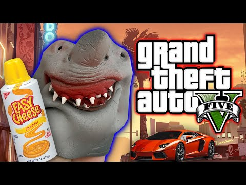SHARK PUPPET PLAYS GTA V IN REAL LIFE!!!!!