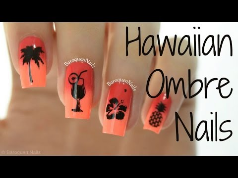 NAIL ART TUTORIAL: Tropical Hawaiian Ombre Nails   Stamping Nail Art