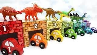 7 Color Dinosaur In Car Garage! Learn Names Of Dinosaur For Kids - Fun Dino Video Rex