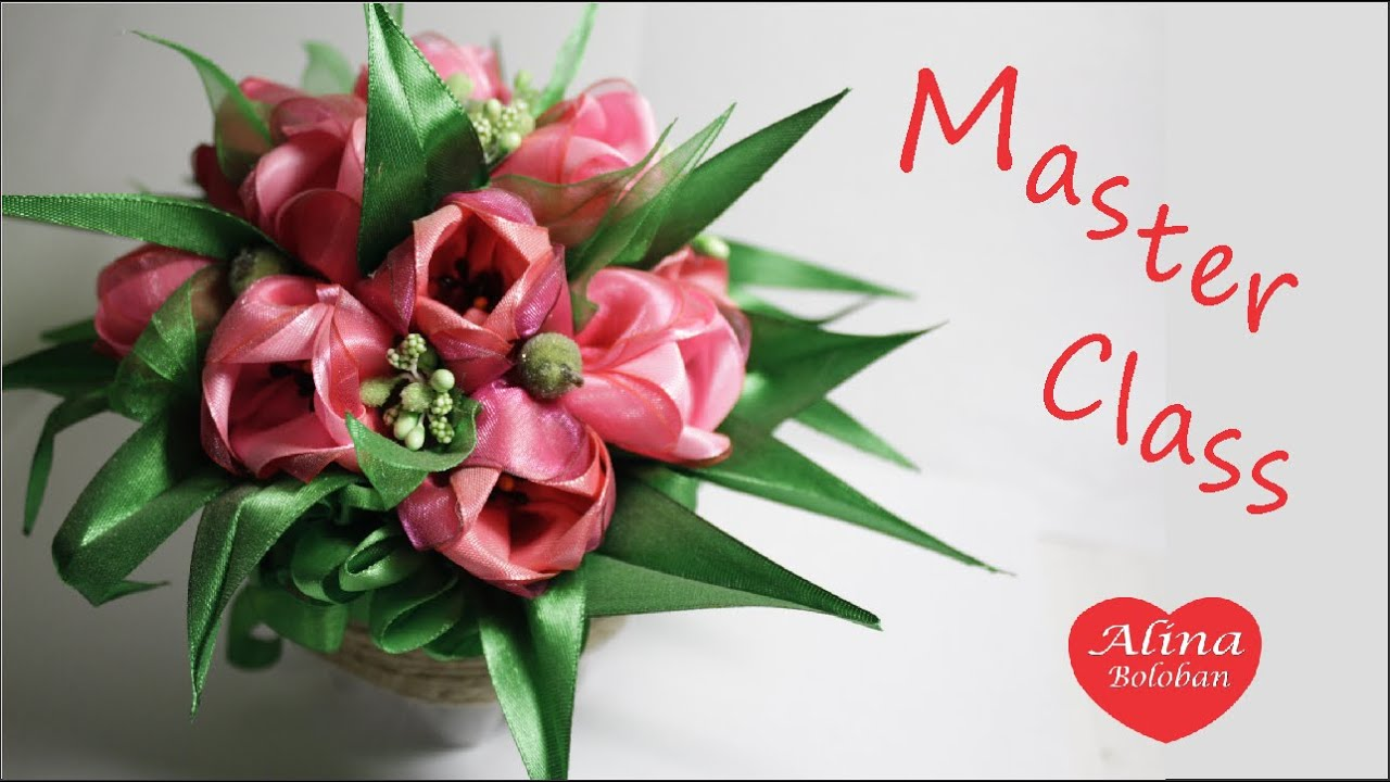 Тюльпаны из атласной ленты своими руками мастер класс 86
