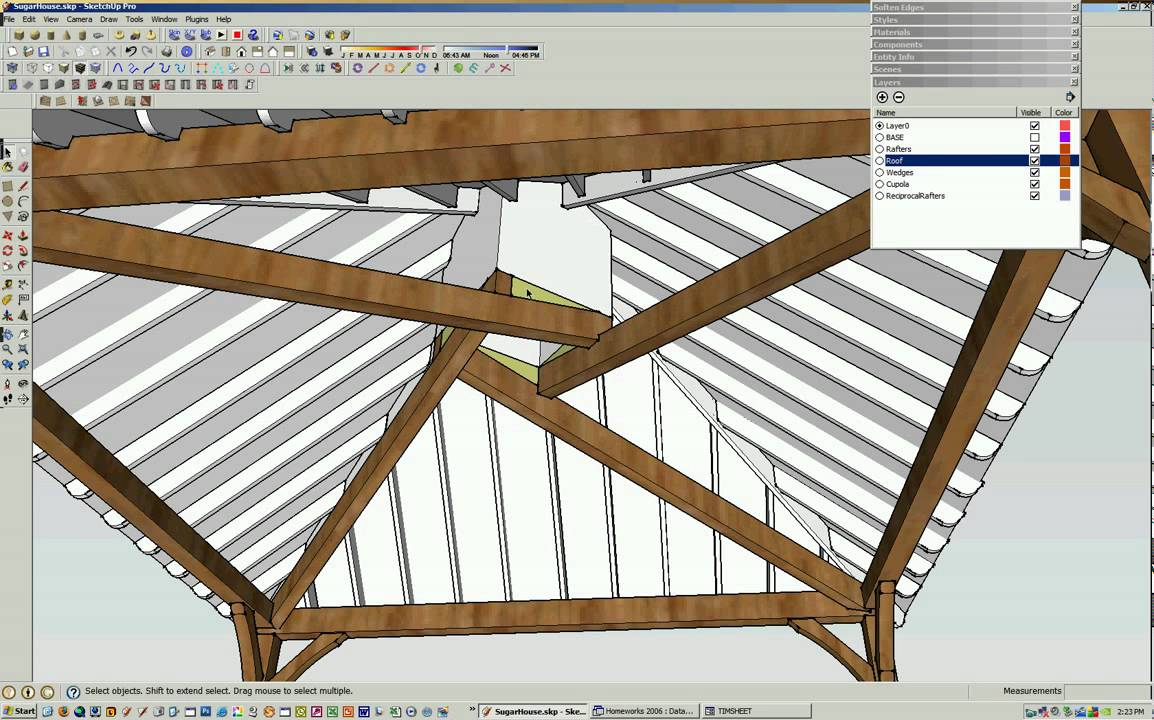 Reciprocal Roof Frame Using Sketchup Video2 Youtube
