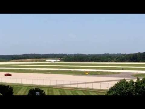 Airplane Taking Off Runway At Observation Park Raleigh Durham RDU Airport